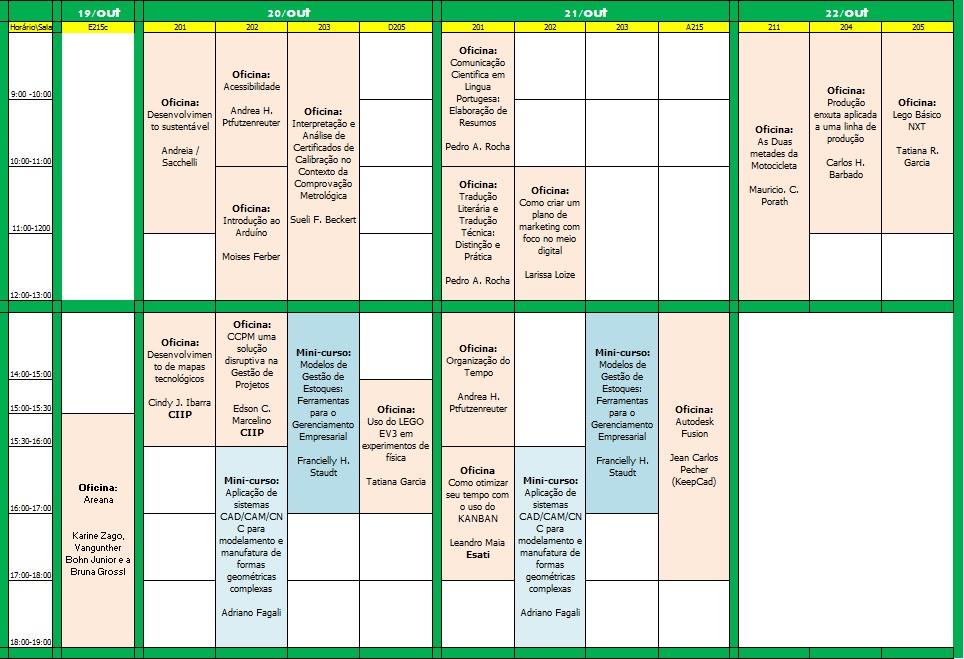 programação minicursos e palestras